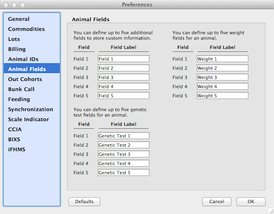 Animal Custom Fields Preference Pane